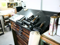 Inking tools in the print room