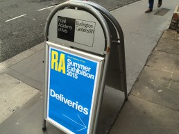 Royal Academy Summer Exhibition – deliveries sign