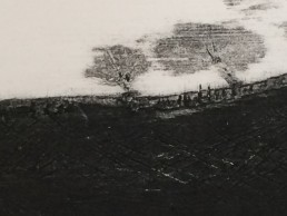 Plate of horizontal landscape made by scratching the mount board surface, peeling away and various carborundum/glue combinations (closeup)