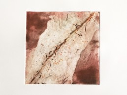 Print Stories: '6x6' print from poured varnish plate – red oxides/gold